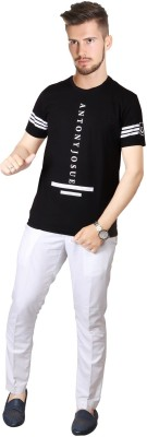 FABLUXURY Printed Men's Round Neck Black T-Shirt