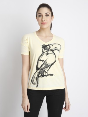 VERO MODA Casual Half Sleeve Printed Women Yellow Top VERO MODA Women\'s Tops
