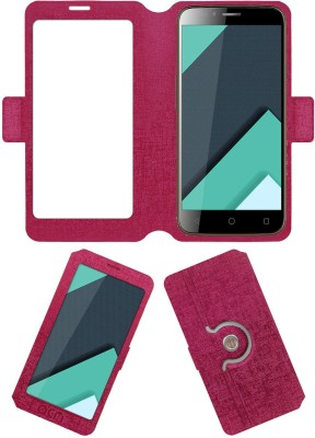 ACM Flip Cover for Karbonn Quattro L50 Hd(Pink, Cases with Holder, Artificial Leather)