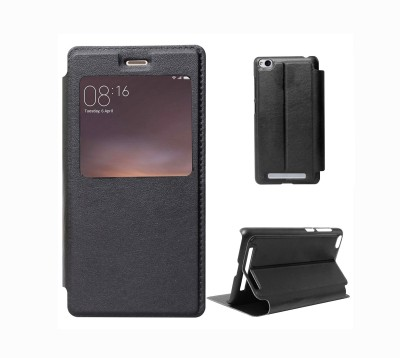 Yofashions Flip Cover for Mi Redmi 4A Black, Dual Protection