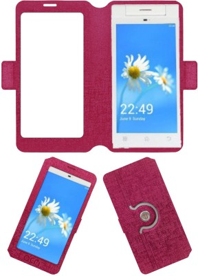 ACM Flip Cover for Cubit Lush 2(Pink, Cases with Holder, Artificial Leather)
