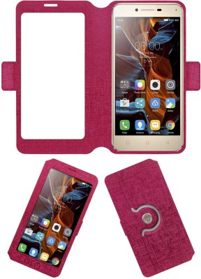 ACM Flip Cover for Lenovo Vibe K5(Pink, Cases with Holder, Artificial Leather)
