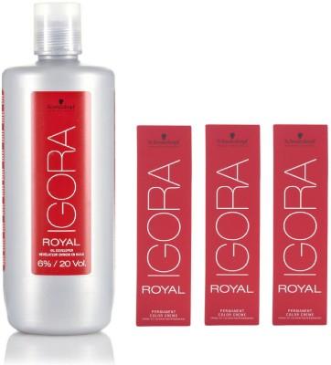 Schwarzkopf Igora Royal Permanent color crème 1-0 Black (3 tube) 60mL+ Igora Oil Developer 1000 mL(Set of 4)