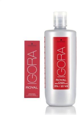 Schwarzkopf Igora Royal Permanent color crème 6-6 Dark Blonde Chocolate (1 tube) 60mL+ Igora Oil Developer 1000 mL(Set of 2)