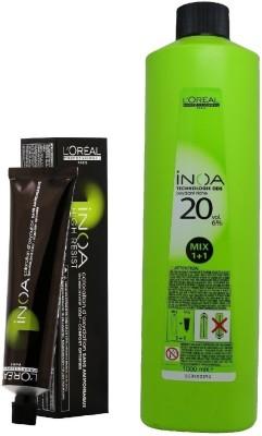 L'Oreal INOA Ammonia Free Permanent Colour 4 3 Golden Brown(1tube) 60mL+  Loreal INOA Oil Developer 1000 mL(Set of 2)