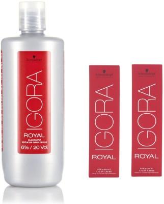 Schwarzkopf Igora Royal Permanent color crème 5-4 Light Brown Beige (2 tube) 60mL+ Igora Oil Developer 1000 mL(Set of 3)