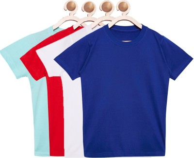 FirstClap Boys & Girls Solid Cotton, Hoisery T Shirt(Multicolor, Pack of 4)