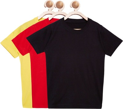 FirstClap Boys & Girls Solid Cotton, Hoisery T Shirt(Multicolor, Pack of 3)