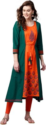 Tulsattva Women Printed A-line Kurta(Green, Orange)