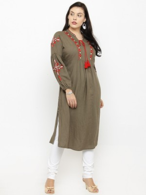 Pluss Women Embroidered A-line Kurta(Grey)