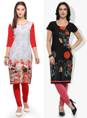 Envy 9 Casual Printed Women Kurti(Pack of 2, Multicolor)