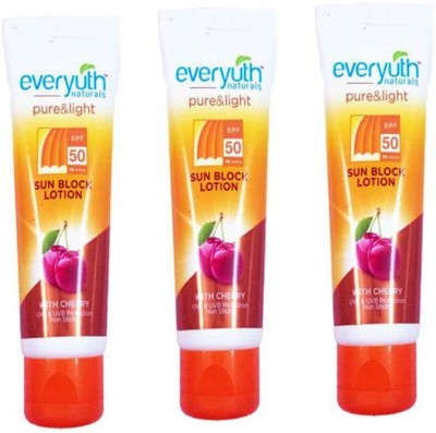 EVERYUTH NATURALS SPF 50 SUN BLOCK LOTION WITH CHERRY 50 GM - SPF 50 PA++++(50 g)