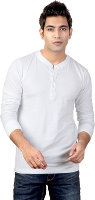 Top Notch Solid Men Henley White T-Shirt