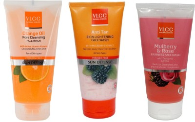 VLCC Original Orange Oil, Anti Tan Skin Ligtening, Mulberry and Rose FaceWash...