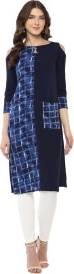 ALC Creations Women Printed Straight Kurta(Blue, White)