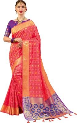 def689616abdc EthnicJUnction Woven Paithani Silk Saree(Orange)