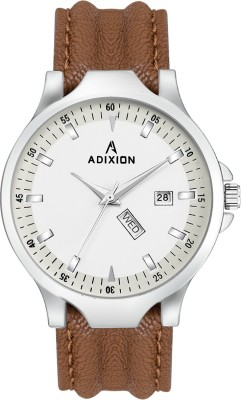 ADIXION 9531SL02 New Leather Strep day & date Stainless Steel Youth Watch Analog Watch  - For Men