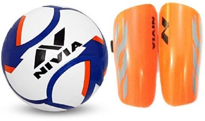 Nivia Combo of two- one 'Dominator' Football (Size-5) and one Pair of 'Classic' Shin guard (Size-Large) (Color On Availability) Football Kit  available at flipkart for Rs.1000
