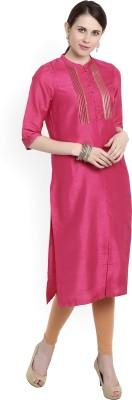 W Women Solid Straight Kurta(Pink)