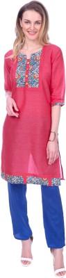 Mystika Formal Solid Women Kurti(Pink)