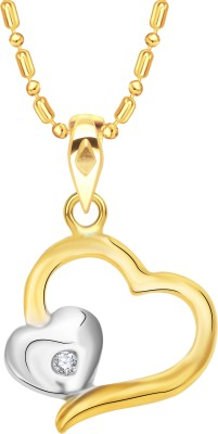 VK Jewels Couple Heart Pattern Gold-plated Cubic Zirconia Alloy, Brass Pendant