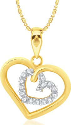 VK Jewels Couple Heart Diamond Studded Gold-plated Cubic Zirconia Alloy, Brass Pendant