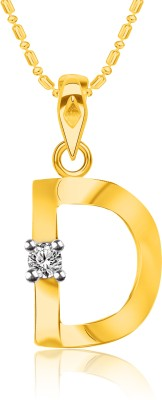"VK Jewels Initial \""D\"" Alphabet 18K Yellow Gold Cubic Zirconia Alloy, Brass Pendant"
