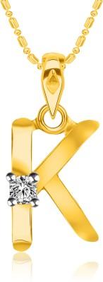 "VK Jewels Initial \""R\"" Alphabet 18K Yellow Gold Cubic Zirconia Alloy, Brass Pendant"