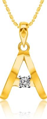 "VK Jewels Initial \""A\"" Alphabet 18K Yellow Gold Cubic Zirconia Alloy, Brass Pendant"