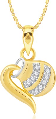 VK Jewels Pot Diamond Studded Heart Pattern Gold-plated Cubic Zirconia Alloy, Brass Pendant