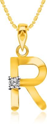 "VK Jewels Initial \""K\"" Alphabet 18K Yellow Gold Cubic Zirconia Alloy, Brass Pendant"