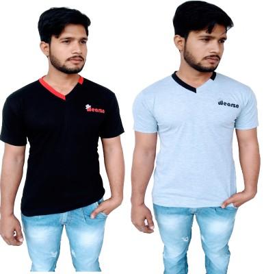 Wearza Solid Men's V-neck Black, Grey T-Shirt(Pack of 2)