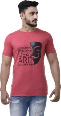 COBIO MAN Printed Men's Round Neck Pink T-Shirt