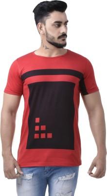 COBIO MAN Printed Men's Round Neck Red T-Shirt