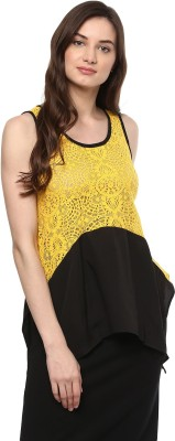 MAYRA Casual Sleeveless Lace Women Yellow Top MAYRA Women's Tops