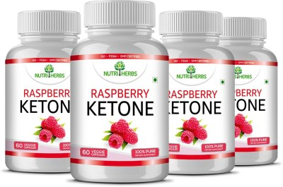 Nutriherbs Raspberry Ketones - Garcinia Cambogia, Green Tea - (Pack of 4)(240 No)