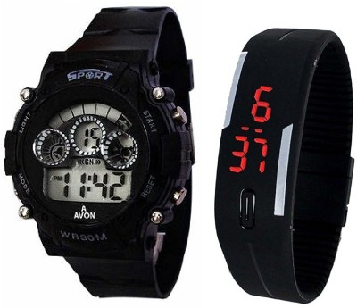 PRIMESHOP Sports Watch Collections - Digital Black Dial Sports Watch & Unisex Silicone Black Led Digital Watch for Boys, Girls, Watch  - For Boys & Girls