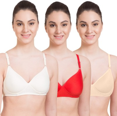 OSTIUM Comfort Fit White, Beige and Grey Color Women Bra Girls, Women Full Coverage Bra(White, Beige, Grey)
