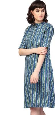 Aks Women's A-line Blue Dress
