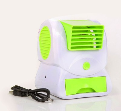 M-MAX Green Mini Fan & Portable Dual Bladeless Small Air Conditioner Water Air Cooler Powered By Usb & Battery Use Of Car/Home/Office Table Fan 3 Blade Tower Fan(Green)  available at flipkart for Rs.289