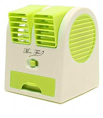 M-MAX Mini Fan & Portable Dual Bladeless Small Air Conditioner Water Air Cooler Powered By Usb & Battery Use Of Car/Home/Office Table Fan (Green) 5 Blade Table Fan(green)  available at flipkart for Rs.319