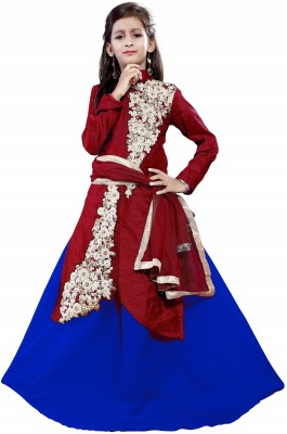 DREAMNOTE Baby Girl's Lehenga Choli Ethnic Wear Embroidered Lehenga, Choli and Dupatta Set(Blue, Pack of 1)