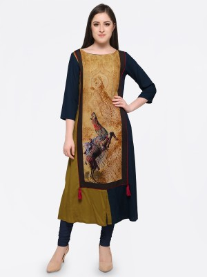 Forty Eight Casual Printed Women Kurti(Brown)