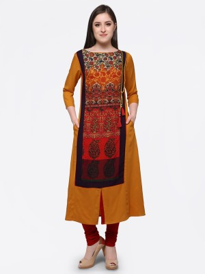 Forty Eight Casual Printed Women Kurti(Yellow)
