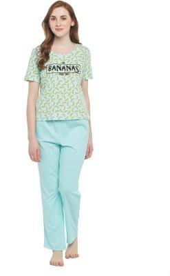 Dreamz by Pantaloons Women Printed Green Top & Pyjama Set