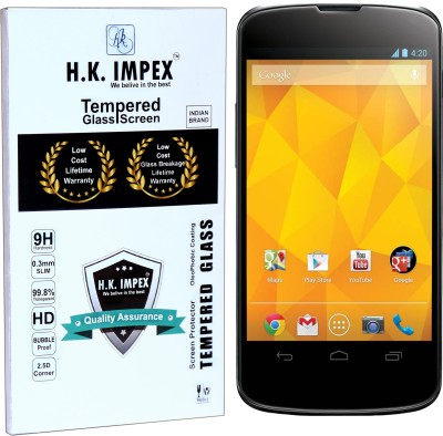 H.K.Impex Tempered Glass Guard for Google Nexus 4,google nexus 4 tempered glass in mobile screen guard(Pack of 1)