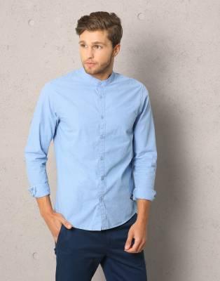 Metronaut Men's Solid Casual Mandarin Shirt