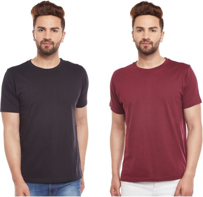The Dry State Solid Men's Round Neck Black, Maroon T-Shirt(Pack of 2)