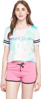 Ajile by Pantaloons Printed Women Round Neck Pink T-Shirt