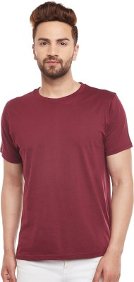 The Dry State Solid Men Round Neck Maroon T-Shirt